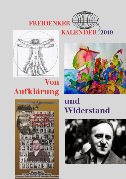 """Umschlag Freidenker:innen Kalender 2019 """"Von Auflärunf und Widerstand"""""""